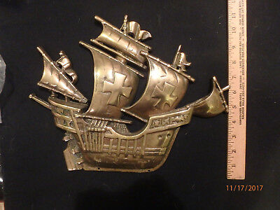 brass ship,boat,vintage,old,rare,antique,metal,heavy,clipper,sail boat,tattoo