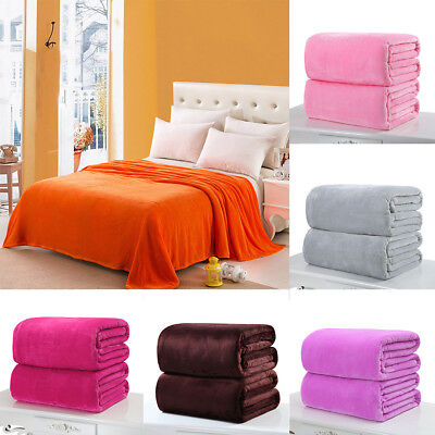 Warm Super Soft Throw Pure Color Modern Blanket Flannel Single/Double King Size