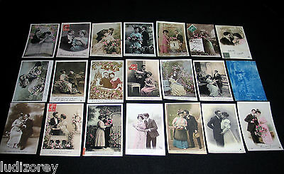 Lot A37 : 21 Cpa Fantaisie Couple Lover Miss Pin-Up Sexy Charme Glamour Mode