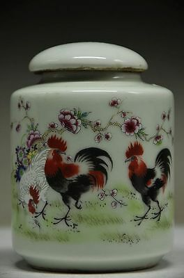 Exquisite Chinese Porcelain Handmade 3 Rooster & Flower Storage Tank