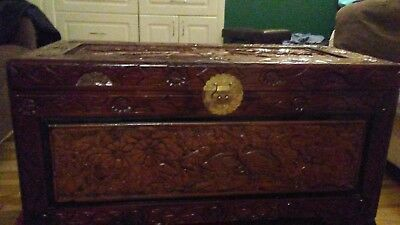 Rare Antique Chinese Hand Carved Large Crane Chest - NEW LOW PRICE!