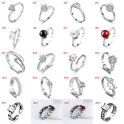 Wholesale Silver Women Fashion Crystal Adjustable 925 sterling Rings Open