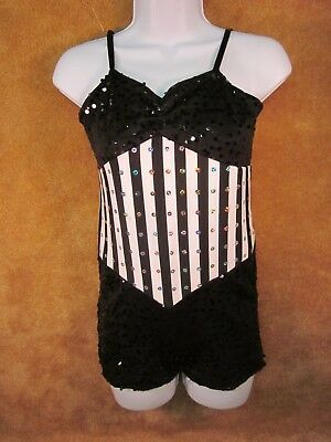 Costume Gallery1 Piece Dance Outfit Black White With Sequins Childs XL Skating