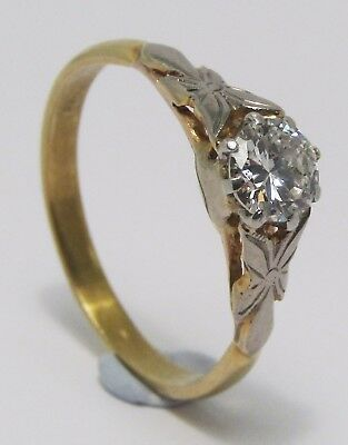 100% Genuine Vintage 18ct. Solid Yellow Gold 0.35ct Solitaire Diamond Ring Sz 6