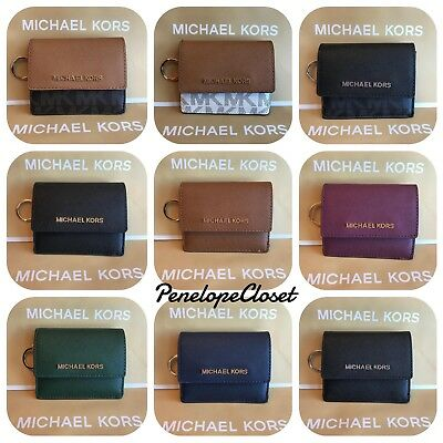 Nwt Michael Kors Pvc & Leather Jet Set Travel Card Case Id Key Holder In Various