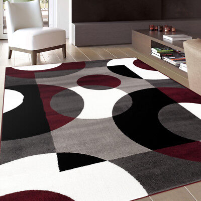 Modern Area Rug Abstract Circles Burgundy Contemporary Stain Resistant 5'3 x 7'3