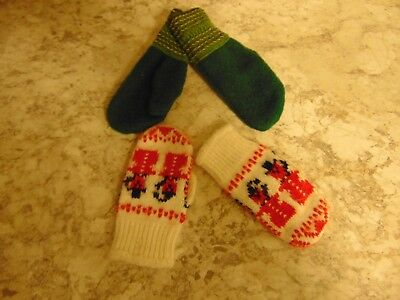 Vintage Lot of (2) Child's Mittens