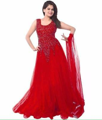 Designer Suits Net Self Design Semi-stitched lolipop red  color Gown