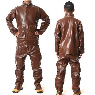 Heavy Split Leather Welding Apparel Suit Welders Jacket Trousers Protect Cloth