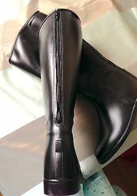 HKM Simulated Leather Long Riding Boots With Back Zips Black XW *Last 2 Pairs!