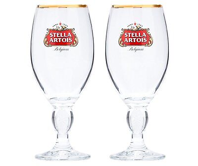 Stella Artois Chalice Beer Glass Heavy Duty Glasses Lady Collection Classic 2 Pc