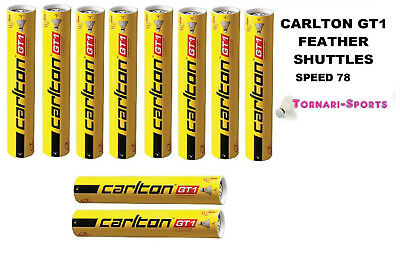 10 x CARLTON GT1 speed 78 FEATHER SHUTTLES SHUTTLECOCKS TUBES of 12