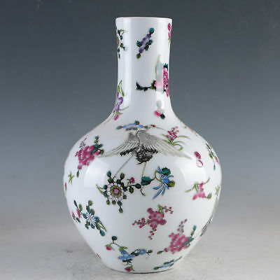 China Porcelain Hand-Painted Flowers Vase Made During The Daqing Qianlong HP0035