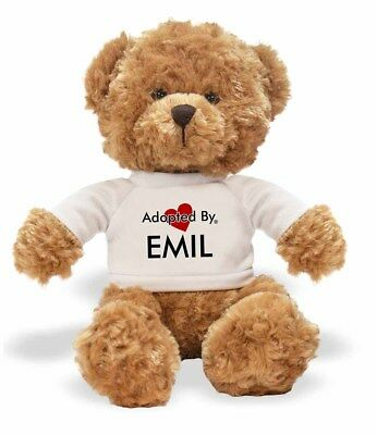 Adopted By EMIL Teddy Bear Wearing a Personalised Name T-Shirt, EMIL-TB1