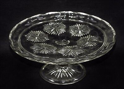 Vintage Pressed Glass (cut glass look) Footed Cake Stand - 21 cm