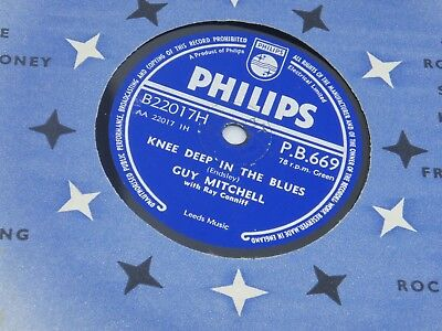 """Guy Mitchell 78 Rpm Record """"knee Deep In The Blues/take Me Back Baby""""."""