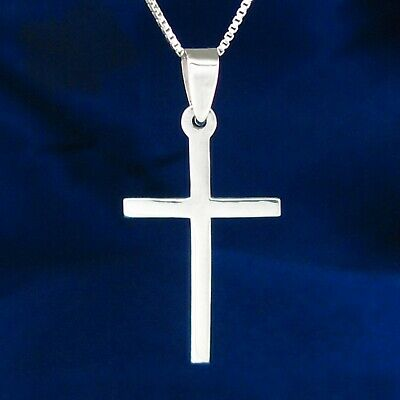 Plain Thin Cross Pendant in SOLID 925 Sterling Silver - Chain Choice - NEW!