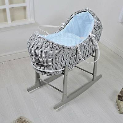 New 4Baby Grey Wicker / Blue Dimple Stars Padded Snooze Pod & Rocking Stand