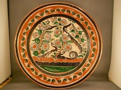 """Vintage Jose Bernabe Tonala Mexico Pottery Charger Birds Squirrels 11 3/4"""""""