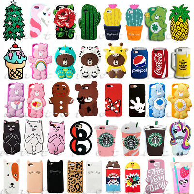 outlet store 41d0e 103f7 FASHION 3D CUTE Cartoon Soft Silicone Phone Case Cover For IPhone X 8/7/6  Plus 5