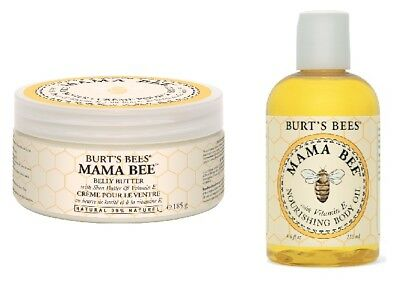 Burt's Bees Mama Bee Belly Butter and Body Oil Double Pack, Maternity Health