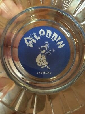 Blue Label Glass Aladdin Casino Las Vegas Ash Tray