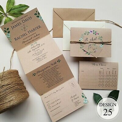 Personalised Wedding Invitations Day or Evening - Concertina - RSVP, Info & Poem