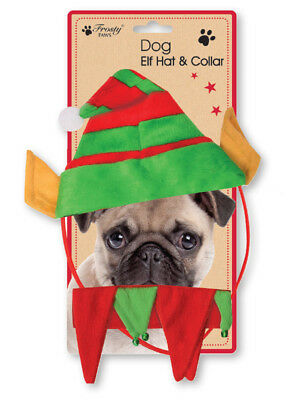 Christmas Small Dog Pet ELF Hat Outfit Collar Bell Xmas Elastic Gift Costume
