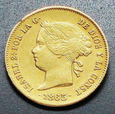 "1865 PHILIPPINES 4 PESOS Gold (0.1903 Oz) Coin.  ""XF"" -  KM#: 144"