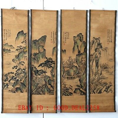 A Set Of 4 Pieces ,Old  Scroll Chinese  Ink And Wash Painting/Landscape Painting