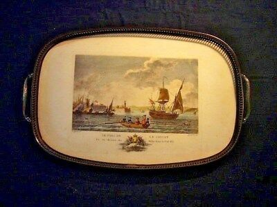 "altes Tablett "" LE PORT DE LA CIOTAT "" Souvenir Andenken ,Motiv in Messigfassung"