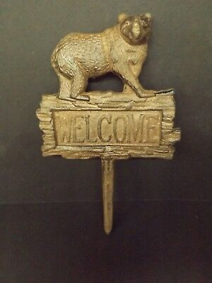 New Cast Iron Bear Welcome Sign Garden Stake