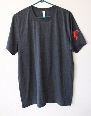 Fireball Whisky Short Sleeve Charcoal Gray T Shirt L Large Logo on Sleeve NEW