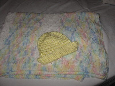 Hand Crochet Baby Blanket w/ cute cap handmade beautiful Soo soft