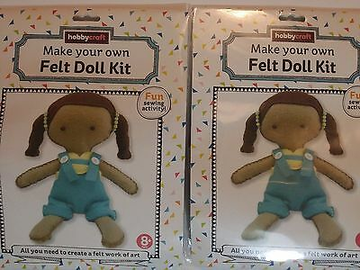 Hobbycraft - Make Your Own Felt Doll Kit - Fun Sewing Activity - Total 2 Packs