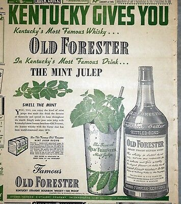Old Forester Mint Julep Bourbon Whiskey Ad - 1941 St. Louis Newspaper Page
