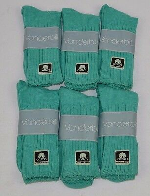 VINTAGE 1980's Lot of 6 Pairs Cotton Blend TROPICAL GREEN Crew SOCKS - NOS