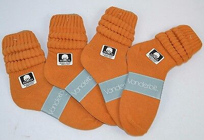 VINTAGE 1980's 4 Pairs Cotton SLOUCH Baggy Push-Down SOCKS Harvest Orange NOS
