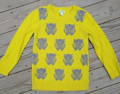 Old Navy Girl's Youth Large (10-12) Owl Sweater Lemon Rind Color Gray Owls