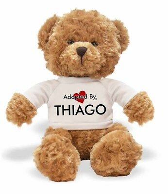 Adopted By THIAGO Teddy Bear Wearing a Personalised Name T-Shirt, THIAGO-TB1