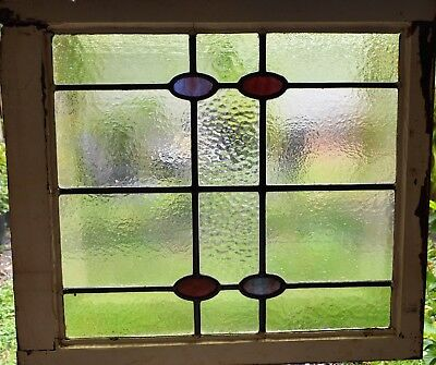 Antique Leaded English Stained Glass Window Wood Frame England Old House 75