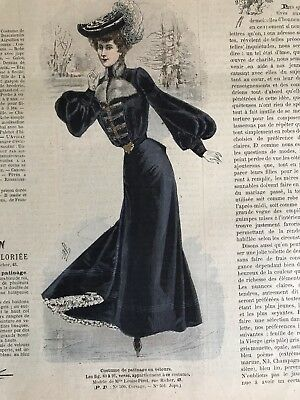 French MODE ILLUSTREE SEWING PATTERN Oct 19 ,1902 BALL GOWN , ICE SKATING DRESS