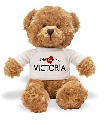 Adopted By VICTORIA Teddy Bear Wearing a Personalised Name T-Shirt, VICTORIA-TB1