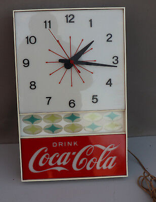 1960s Light Up COCA COLA Starburst Clock Exc++   not pam