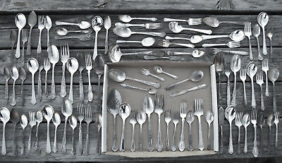 Lbs Lot of 89 Silverplate FLATWARE w Spoons Forks Serving w NO KNIVES & No Monos