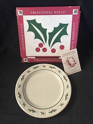 Longaberger Traditional Holly Christmas Luncheon Plate NIB