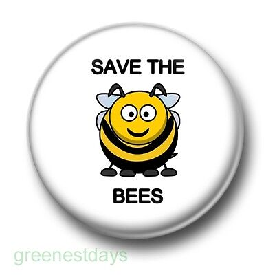 Save The Bees 1 Inch / 25mm Pin Button Badge Beehive Honey Environment Pollinate