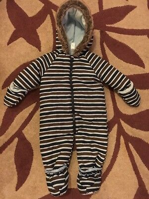 Boys Blue Navy And Brown Snow Suit Pram Suit 6-9 Months