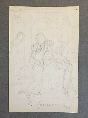 Pencil on Paper Sketch by Vincenzo Camuccini (1771-1844), signed