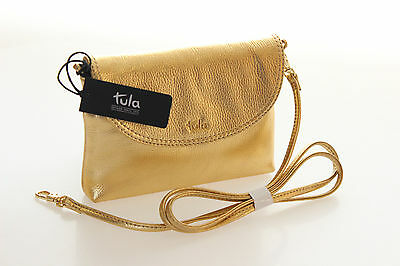 Tula Brand New Party Bag In Bright Gold Leather With Detachable Strap RRP £59.00